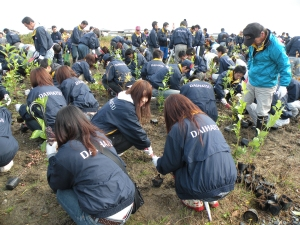 皆さん一生懸命になり苗木を植えています。